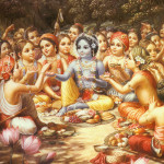 Krishna lunch with Gopas